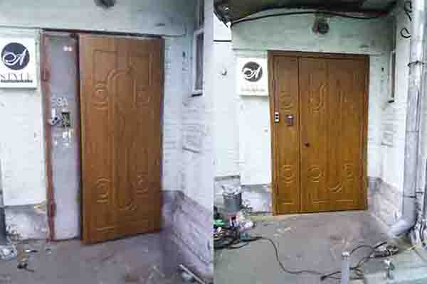 МДФ накладки на уличные двери. Влагостойкий МДФ  в пленке Винорит. Парадное.