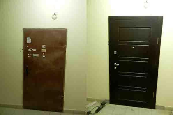 Реставрация металлических дверей  в новострое . Отделка МДФ. Ломоносова.