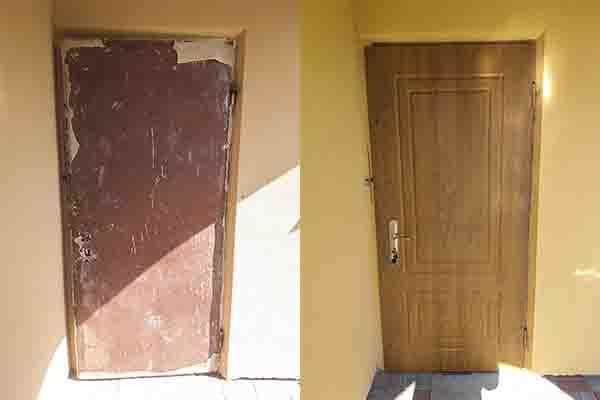 установка уличной МДФ накладки на металлические двери