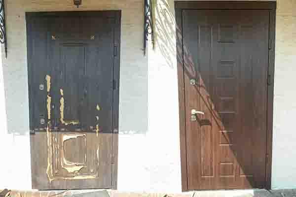 Замена уличной МДФ накладки на двери
