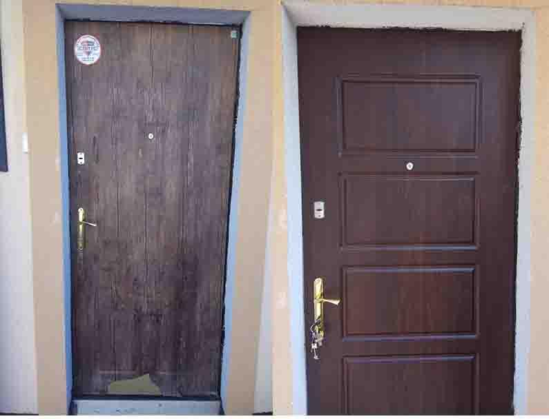 замена МДФ накладки на двери Вишневое