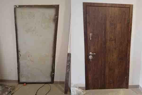 Мдф накладки реставрация. Ремонт металлических дверей в новострое..