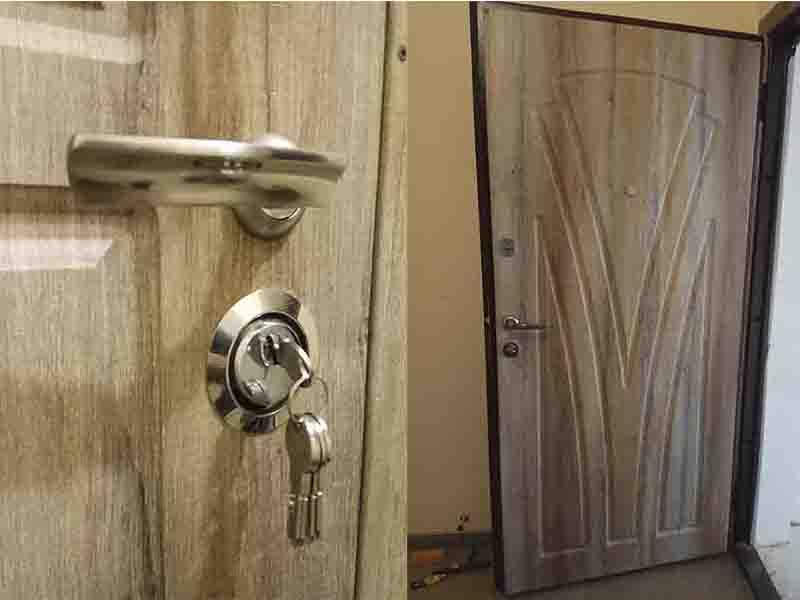 Обшивка  дверей металлических мдф накладками