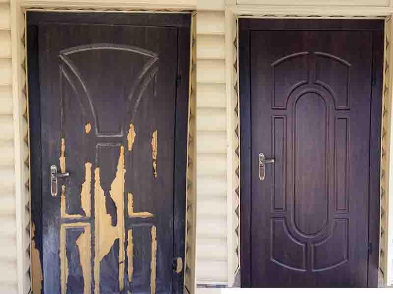 замена уличной мдф накладки на двери Бобрица