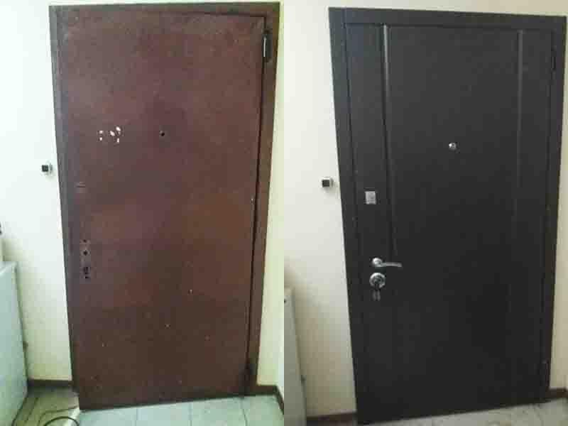 Установка МДФ накладки на двери