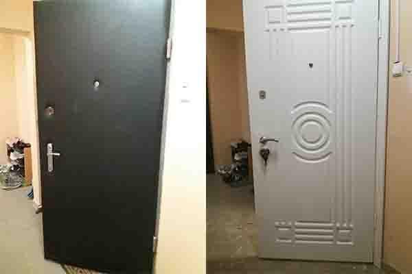 Установка накладок МДФ на входные двери.