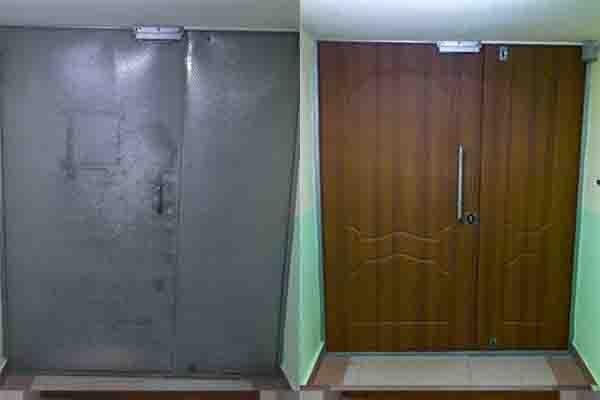 Обшивка металлических двустворчатых дверей мдф накладками