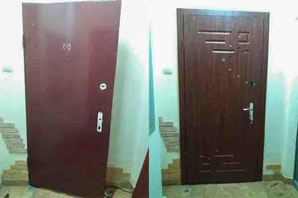 Обшивка дверей МДФ.