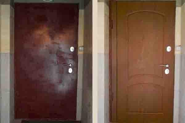 Установка накладки МДФ на старые металлические двери