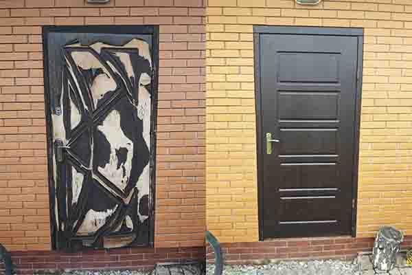 Обшивка уличных дверей МДФ накладками