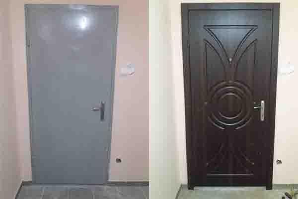 обивка МДФ накладками . двери от застройщика.