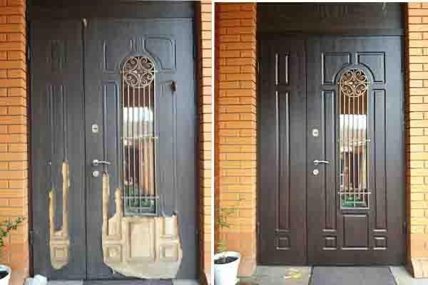 Обшивка дверей МДФ накладками. Уличный МДФ.