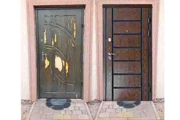 Двери до и после установки полимерных накладок
